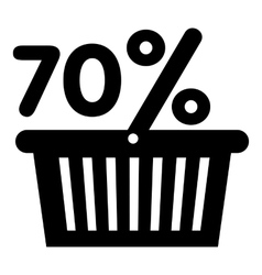 Basket seventy percent discount icon simple style vector