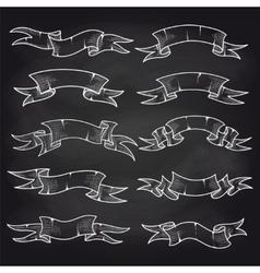 Chalk vintage ribbons set on blackboard vector image