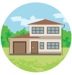 Cottage is in a circle vector