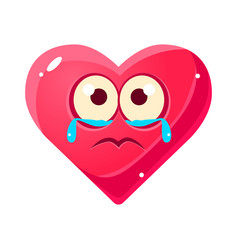 Crying upset emoji pink heart emotional facial vector