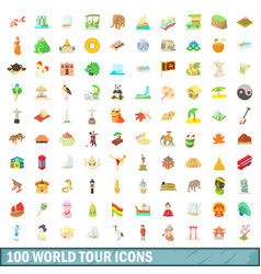 100 world tour icons set cartoon style vector image