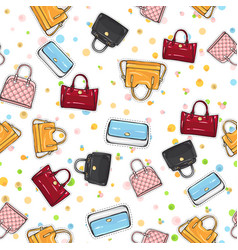 Collection of women handbags on endless texture vector