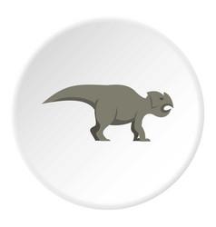 Grey ceratopsians dinosaur icon circle vector