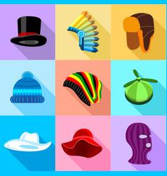 Woman amd man headdress icons set flat style vector