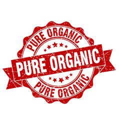 Pure organic stamp sign seal vector