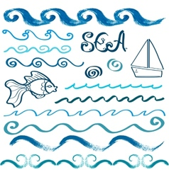 Set of hand drawn sea design elements vector