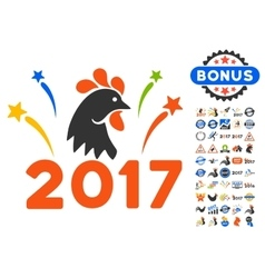 2017 rooster year celebration fireworks icon with vector