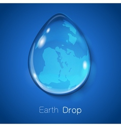 Earth within water drop on blue background vector