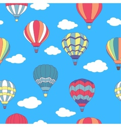 Seamless pattern of flying hot air balloons vector
