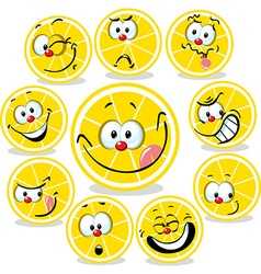 Lemon icon cartoon with funny faces isolated on vector