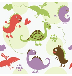 Seamless pattern with cute dinosaur vector