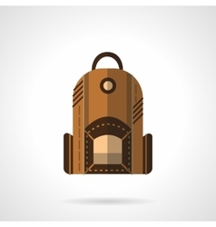 Brown backpack flat icon vector