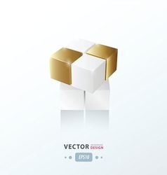 3d cube toy game gold style vector