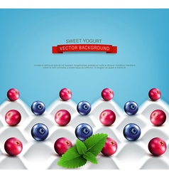 Wave yogurt with berries vector