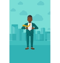 Businessman taking off jacket vector