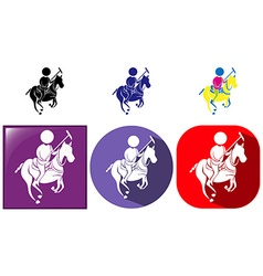 Sport icon for esquestrian in three designs vector