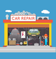 Auto repair service garage shop technician vehicle vector