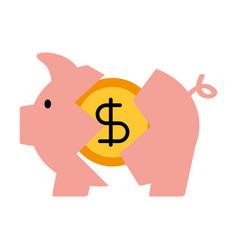 Banking piggy broken coin dollar crisis vector