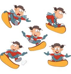 Cartoon of Cute Boys Snowboarding vector image