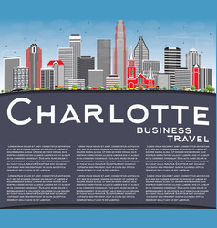 charlotte skyline with gray buildings blue sky vector image vector image