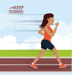 Colorful poster keep running with woman athlete vector