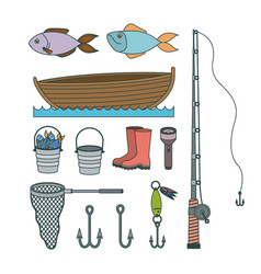 Colorful set collection sketch elements to fishing vector