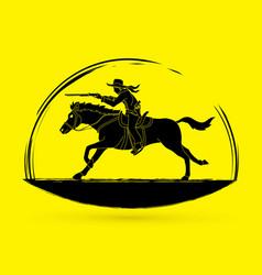 Cowboy riding horseaiming rifle gun vector
