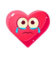 crying upset emoji pink heart emotional facial vector image