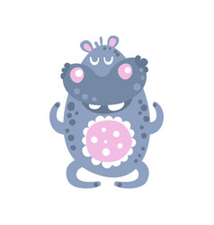 Cute cartoon hippo character meditating vector