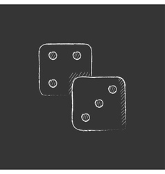 Dices drawn in chalk icon vector