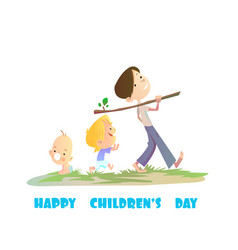 digital happy children day card vector image