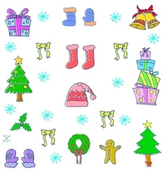Doodle of cute christmas color vector image