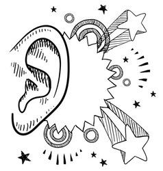 doodle pop ear vector image vector image