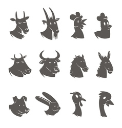 Farm Animals Heads Black Icons Set vector image