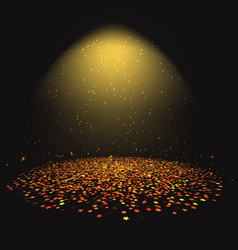 gold star confetti under a spotlight vector image