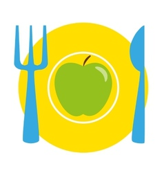 Green apple on the yellow plate with blue fork and vector image vector image