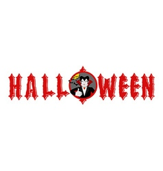 Halloween emblem dracula winks and shows thumb up vector