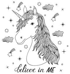Head of hand drawn unicorn vector