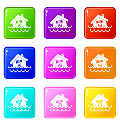 House sinking in a water icons 9 set vector