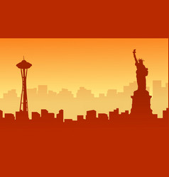 Liberty building on usa scenery silhouettes vector