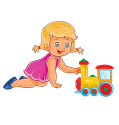 Little girl crawling on her knees and vector