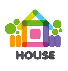 Logo multicolored rural house vector
