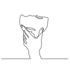 man covering his mouth with hand vector image vector image