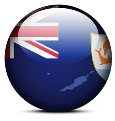Map on flag button of anguilla vector