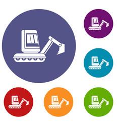 Mini excavator icons set vector