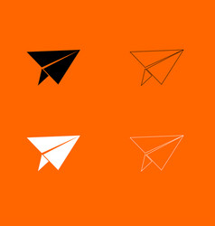 Paper airplane black and white set icon vector