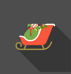 santa sleigh with present boxes vector image vector image