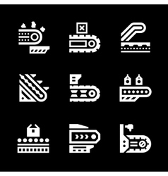 Set icons of conveyor vector