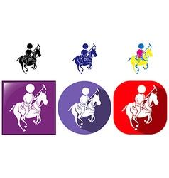 Sport icon for esquestrian in three designs vector image