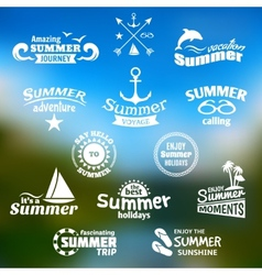 Summer element label set vector
